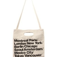 American Apparel Bull Denim Woven Cotton Cities Bag with Strap - Black / One Size