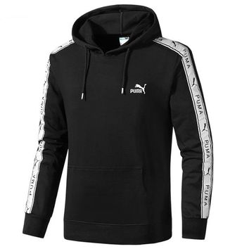 PUMA autumn and winter models men's casual long-sleeved hooded sweater black