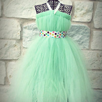 Mint Green Tutu Dress for Birthday, Wedding, Pageant, Flower Girl