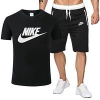NIKE New fashion letter hook print top and shorts two piece suit men Black