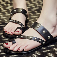 Handmade Leather Slippers for Women,Black Leather Rivets Slippers,Summer Shoes Flats,Black Slippers