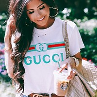 Gucci Embroidery Lake blue Print Women Men Flower Print Colorful Print Tee Shirt Top White