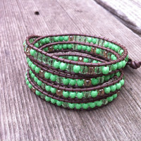 Beaded Leather Wrap Bracelet 4 Wrap with Lime Green Czech Glass Beads on Brown Leather