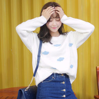【Pre-Order】Cloud Embroidery Knit Sweater