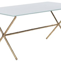Brogen Accent Table Gold/White Glass Top