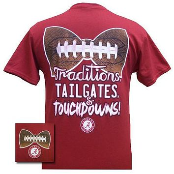 SALE Alabama Crimson Tide Traditions Football Bow Bright T Shirt