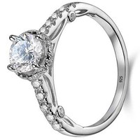 1.2ct Round Cut Halo White Cz 925 Sterling Silver Wedding Engagement Ring Promise