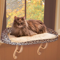 Deluxe Kitty Sill with Bolster - Leopard