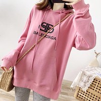 Balenciaga 2019 new wild loose hooded sweater Pink