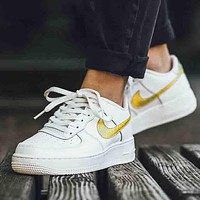 NIKE Air Women Men Casual Running Sport Shoes Sneakers White+Gold hook
