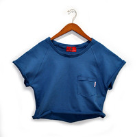 Jodi-Ann Crop Top Sweatshirt (Marine Blue)
