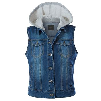 Classic Vintage Cotton Sleeveless  Button Down  Denim Jean Jacket Vest (CLEARANCE)