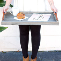 Driftwood+ Leather Breakfast Tray: handmade, solid wood, couples gift