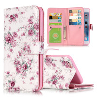 For Coque iPhone 6 Case Leather Wallet + Silicone Flip Case iphone 6 Cover 3D Relief Floral Painted For Fundas iPhone 6 6s Plus