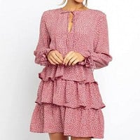 Elegant Women Long Sleeve Dot Short Dress Female High Waist Bell Sleeve Ruffle Mini Dress Plus Size