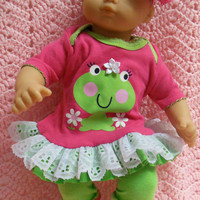 """AMERICAN GIRL Bitty Baby Clothes """"Kiss A Frog"""" (15 inch) doll outfit top, diaper cover, baby booties/ socks, and headband"""