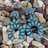 Turquoise and Sterling Naja Post Earring