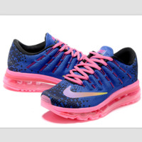 """""""NIKE"""" Trending Fashion Casual Sports Shoes AirMax Toe Cap hook section knited blue pink lace up pink soles"""