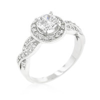 Round Cut Halo Engagement Ring, size : 10