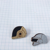 Daft Punk Human After All Pins, Thomas and Guy Helmet Brooch