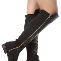 Black Faux Leather Knee High Zipper Accent Riding Boots