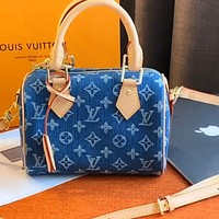 Louis Vuitton LV denim blue pillow bag bucket bag shoulder messenger bag