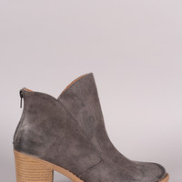 Qupid Asymmetrical Collar Chunky Heel Western Cowgirl Booties