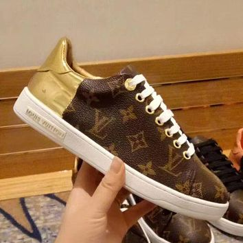 Louis Vuitton LV Stylish Ladies Print Leather Old Skool Flats Shoes Sneakers I