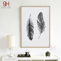 900D Watercolor Black Feather Canvas Art Print Poster, Wall Pictures for Home Decoration, Giclee Wall Decor S16053