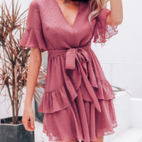 Spring and summer women's fashion V-neck dress new high waist skirt female