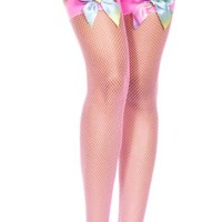 Pink (Neon) Rainbow Bow Diamond Fishnet Spandex Thigh High