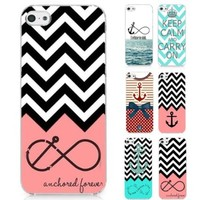 S9Q Anchor Chevron Retro Vintage Tribal Nebula Pattern Hard Case Cover Back Skin Protector For Apple iPhone 5 5S Style A Pink