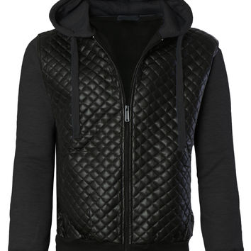 LE3NO Mens Quilted Faux Leather Varsity Bomber Jacket with Hoodie