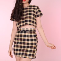 Glitters For Dinner — PRE ORDER - Yellow & Black Tartan Motel Set