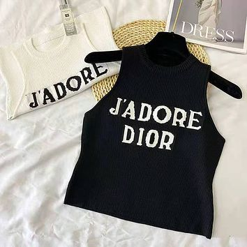 DIOR 2021 summer new d letter logo jacquard pattern short ice silk knitted suspender vest for women