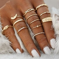Modyle 12 pc/set Charm Gold Color Midi Finger Ring Set for Women Vintage Boho Knuckle Party Rings Punk Jewelry