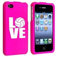 Apple iPhone 4 4S Hot Pink Rubber Hard Case Snap on 2 piece Love Volleyball:Amazon:Cell Phones & Accessories