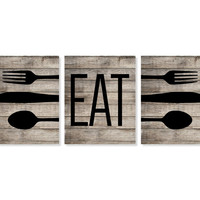 Rustic Kitchen Art Print 'Eat', Fork Spoon Knife Art, Faux Wood 'Look' Set of Three 5x7, 8X10, 11x14 Typography, Kitchen Decor, Wall Decor