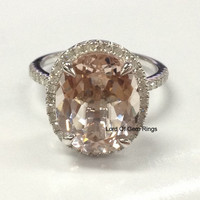 Oval  Morganite Engagement Ring Pave Diamond Halo 14K White Gold 10x12mm