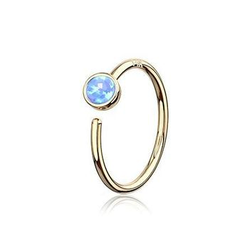 14 Karat Gold Bezel Set Fire Opal Bendable Hoop Ring