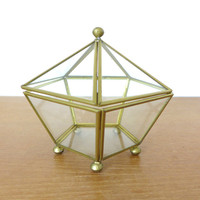 Large glass and brass one domed pentagon