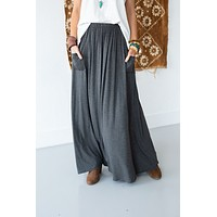 3BN Pocketed Maxi Skirt - Charcoal