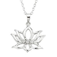 Sterling Silver Diamond-Accent Lotus Flower Pendant Necklace, 18""