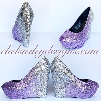 Lilac Wedge Glitter Pumps, Purple Silver Ombre Wedding High Heels