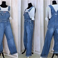 90s grunge overalls size S  32 x 30/  bib overalls / silver jeans Canada  / utility carpenter bibs / Mens or Womens