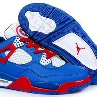 [Free Shipping ]Air Jordan 4 Captain America Basketball Sneaker