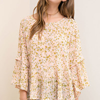 Pleated Peach Floral Printed Peplum Top