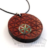 Sacred Geometry Inlay Pendant  Abalone Flower of by EarEmporium