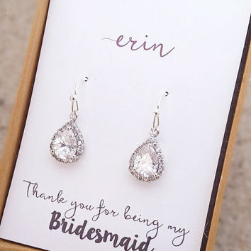 Bridesmaid Gifts,Bridesmaid Earrings,Wedding Jewelry,Rustic wedding,Tie The Knot,Personalized Bridesmaid gifts