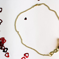 Simple necklace // infinity necklace // modern charm necklace // chain necklace // red necklace // gold necklace // handmade